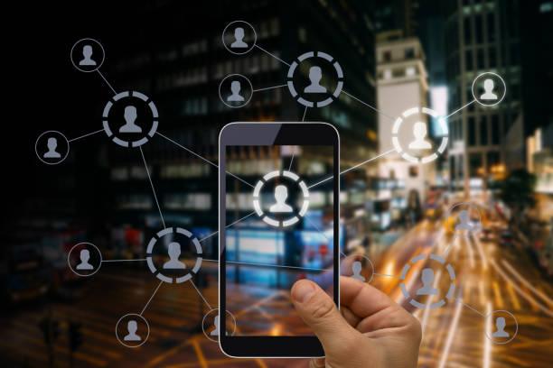 Social Media Marketing Netzwerk-Kommunikation Mobile-Telefon-App – Foto