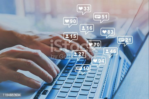 istock Social media marketing SMM, likes, followers and comment. 1154652634