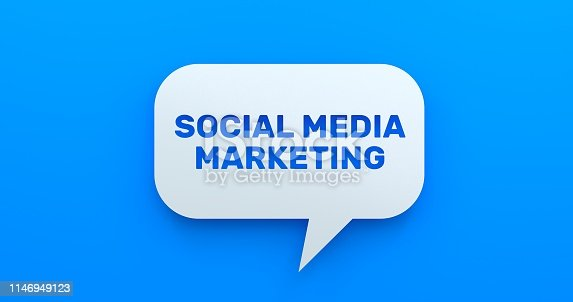654055650 istock photo Social Media Marketing. White Chat Bubble On Blue Background 1146949123