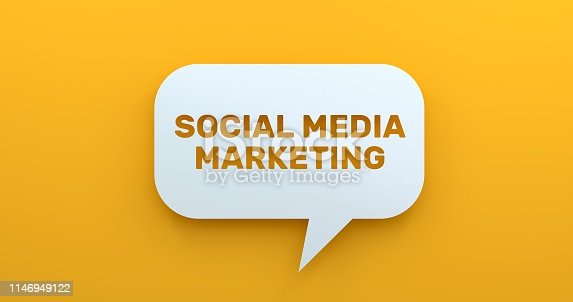 istock Social Media Marketing. White Chat Bubble On Yellow Background 1146949122