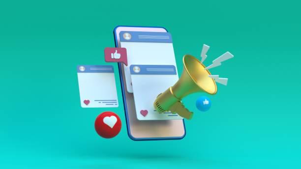 социальные медиа мегафон концепция - social media стоковые фото и изображения