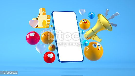 istock Social Media Megaphone Smart Phone Concept 1210808222