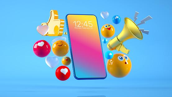 istock Social Media Megaphone Smart Phone Concept 1212491489