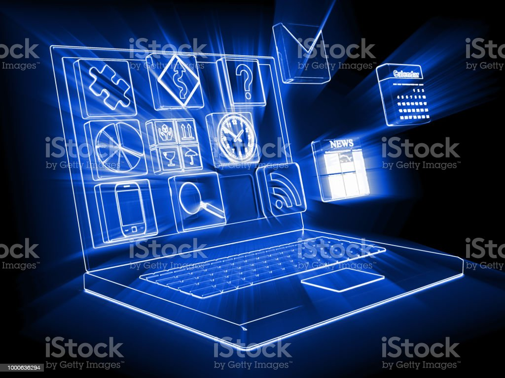 Social media network communication laptop computer