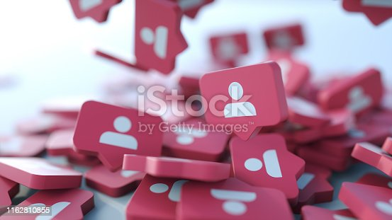 istock Social media notification icon. Follow, comment, like icon. 1162810855