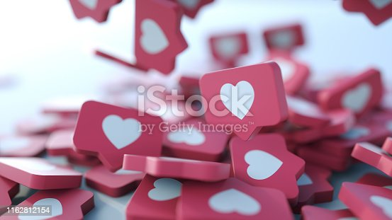 istock Social media notification icon. Follow, comment, like icon. 1162812154