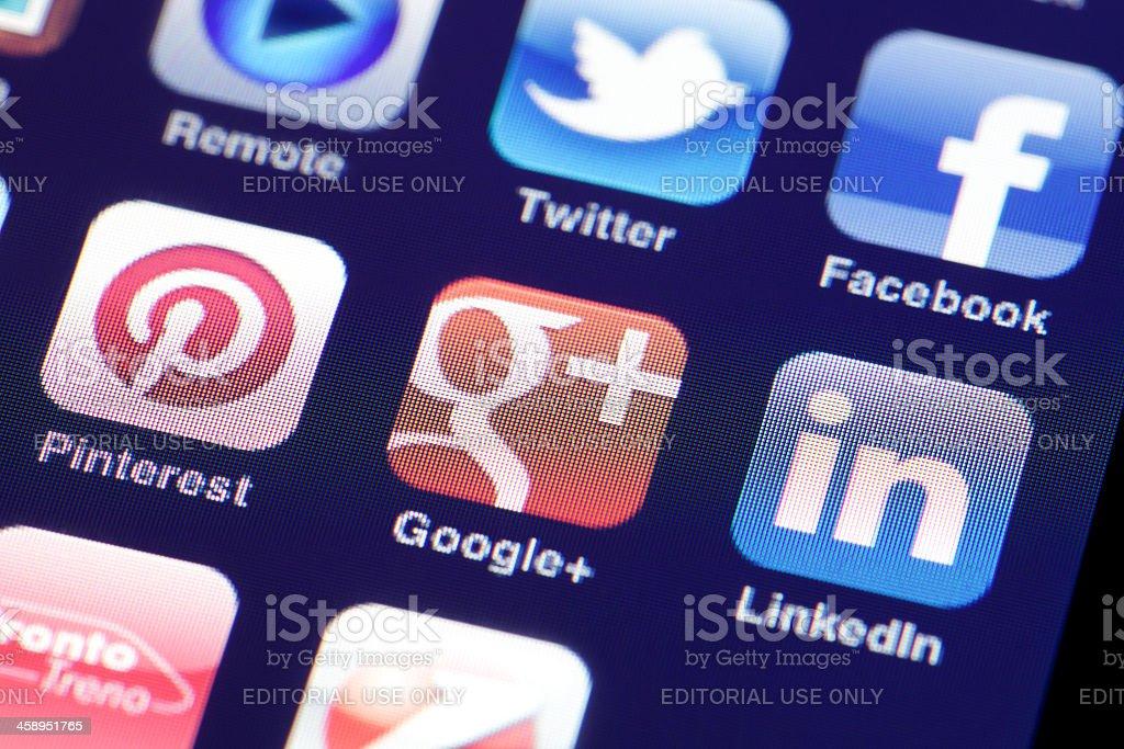 Social Media On iPhone royalty-free stock photo