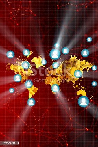 istock Social Media on the world map 923213310