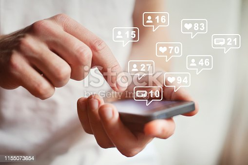 social media or network on smartphone mobile, comments, likes and new followers, communication online