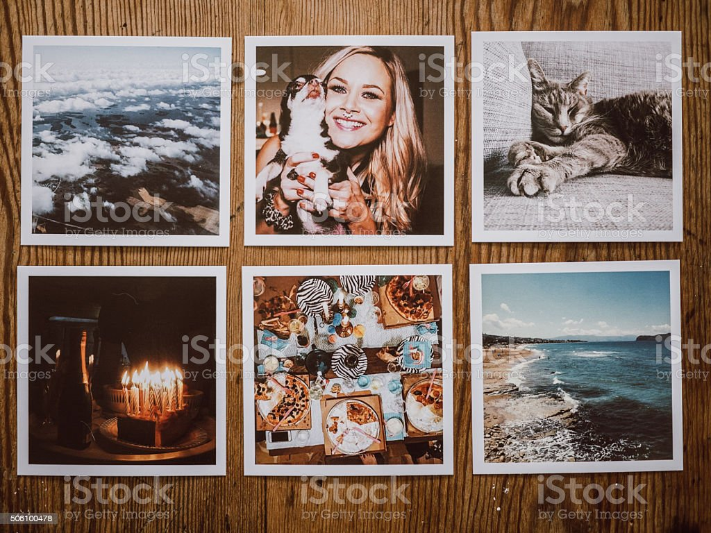 Social media photo prints stock photo