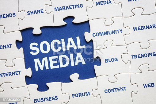 Social media concept jigsaw piece reading marketing, networking, community, internet etc