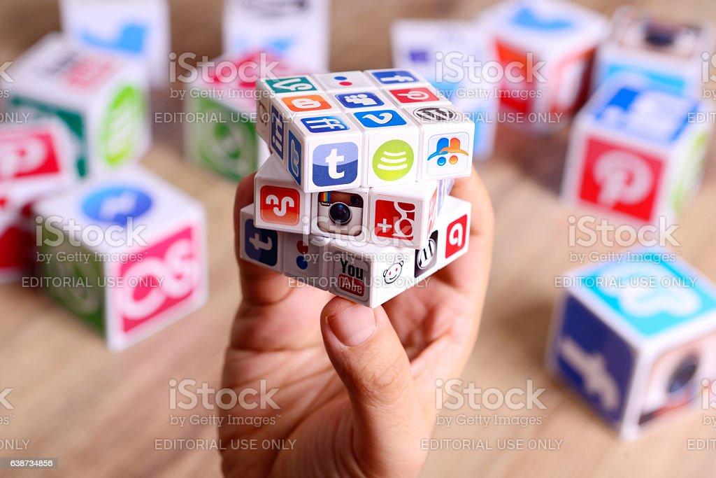 Social media puzzle cube stock photo