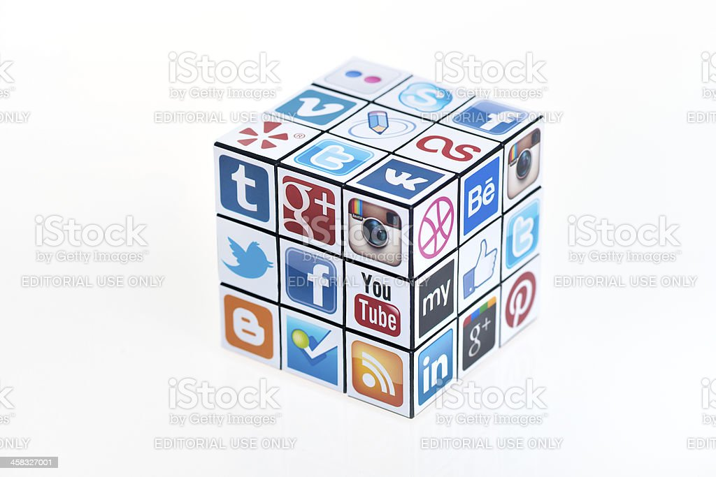 Social Media Rubick's Cube stock photo