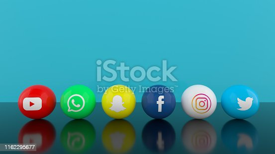 istock Social Media Services Icons with Blue Background 1162295677