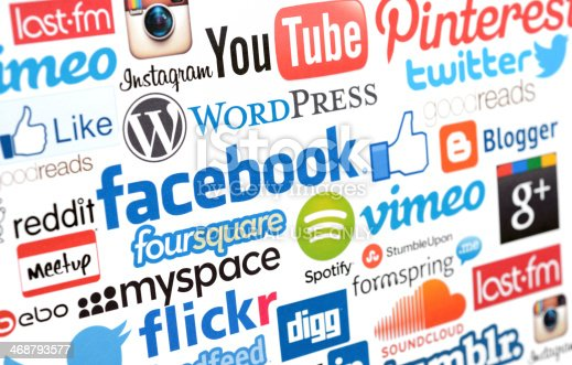 İstanbul, Turkey - February 8, 2014: Social media services logos on white paper, including YouTube, Facebook, Twitter, Pinterest, Instagram, Spotify, Vimeo,  Foursquare, MySpace, Reddit, Digg, Google Plus, Last fm, Goodreads, SoundCloud.