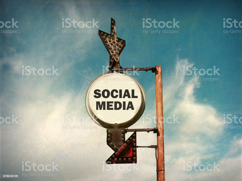 social media sign stock photo
