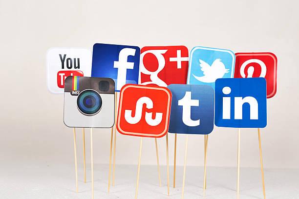 Social media signs stock photo