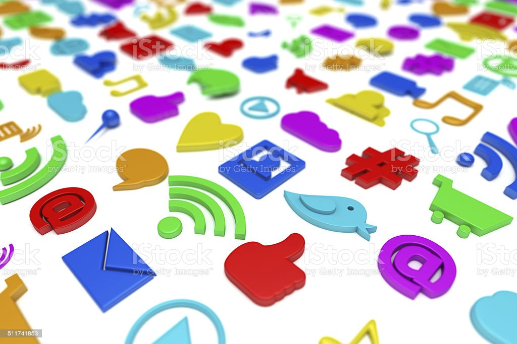 Social media symbols background stock photo