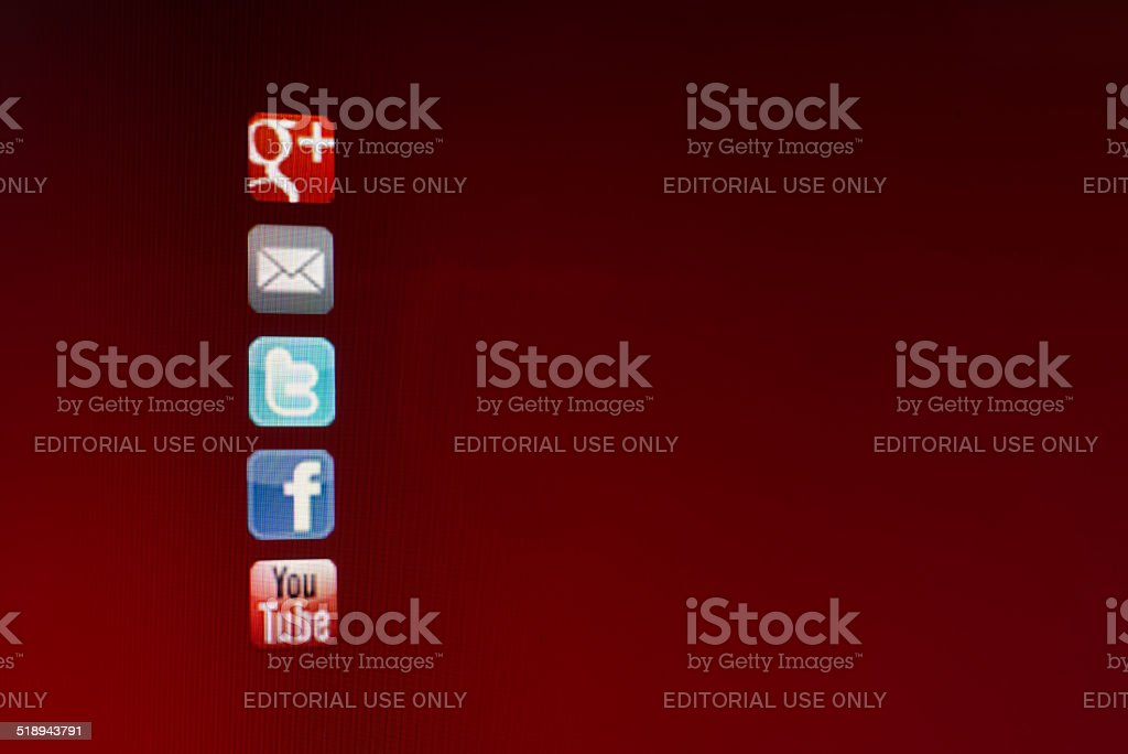 Social Media symbols on computer screen stock photo