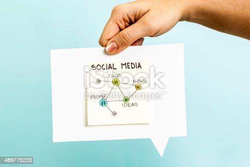 istock Social media tags news people ideas hashtag speech bubble blue 489775223