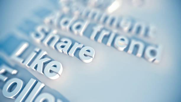 Social media word cloud stock photo