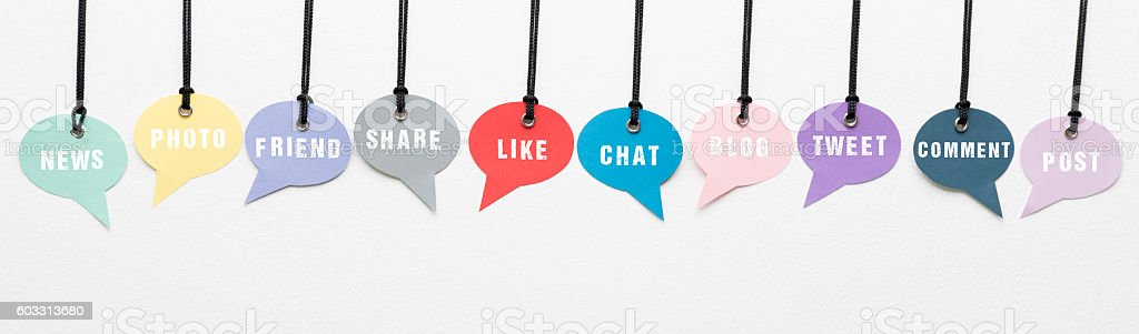 Social Media Words on Speech Bubbles stock photo