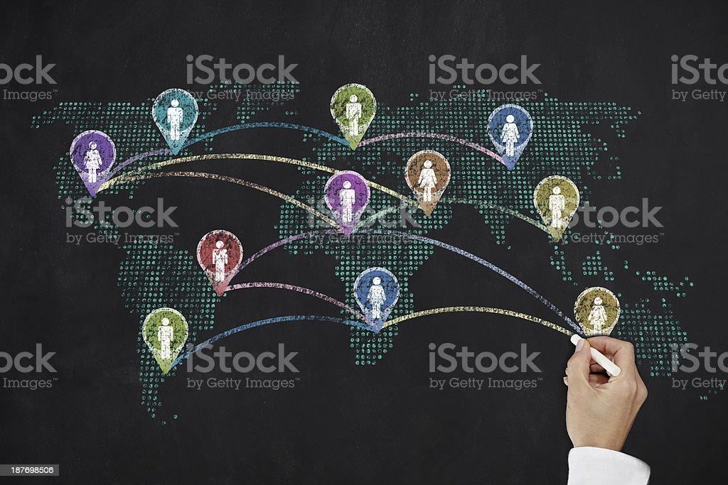 Social media world map royalty-free stock photo