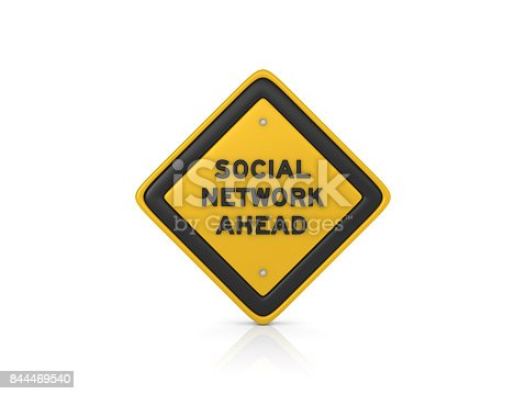 Social Network Ahead Concept Road Sign - White Background - 3D Rendering