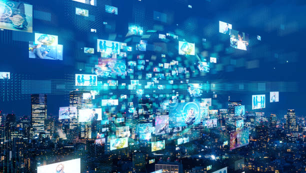 Social network and city. Social network and city. cable tv stock pictures, royalty-free photos & images