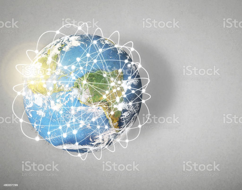 social network and globe stock photo