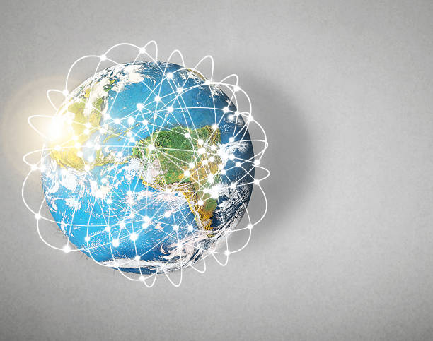 social network and globe - physical geography stock photos and pictures