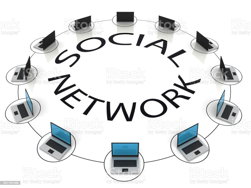 Social network computer technology stock photo