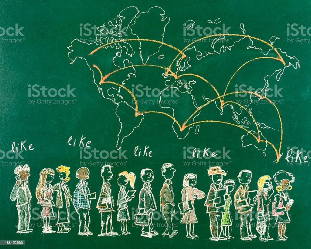 Social Network Concept Drawing royalty-free stock photo