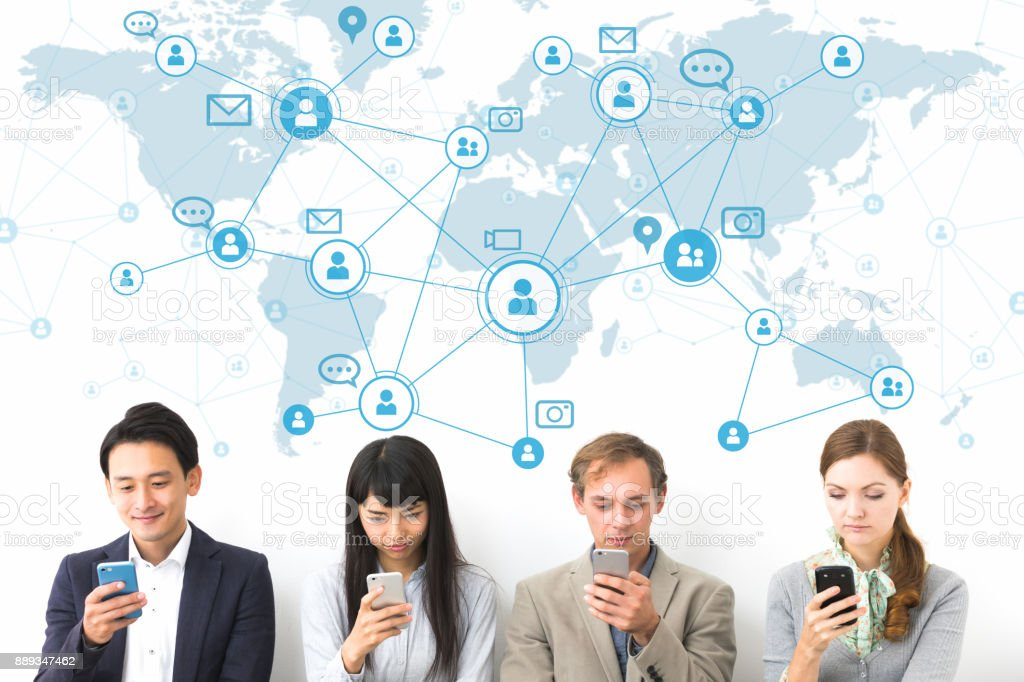 Social network concept. Group of people using smart phone. royalty-free stock photo