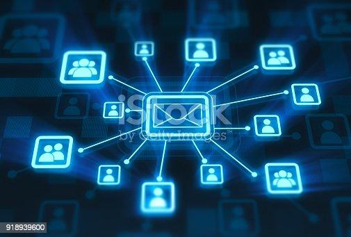 Social network concept on digital display