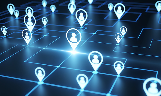 Social network 3d render concept