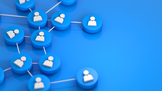 Blue social network connecting people icon. 3d rendering