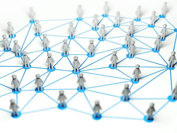 soziales netzwerk-konzept, abstrakte 3d illustration - soziologie stock-fotos und bilder