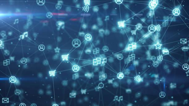 soziale netzwerk-verbindungen. die verbindung von menschen im internet knoten verwandeln. 3d illustration - datenknoten stock-fotos und bilder