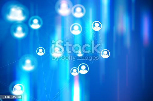 istock Social Network Connections icons on colourful backgrounds 1146198945