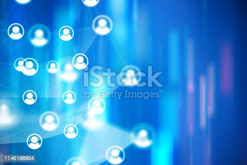 istock Social Network Connections icons on colourful backgrounds 1146198954