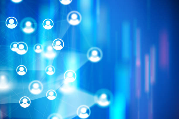 Social Network Connections Ikonen auf bunten Hintergründen – Foto