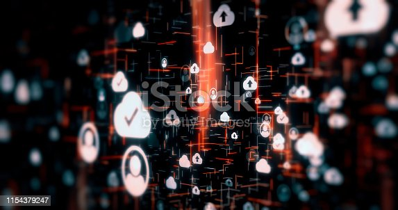 istock Social Network Connections icons on technology backgrounds 1154379247