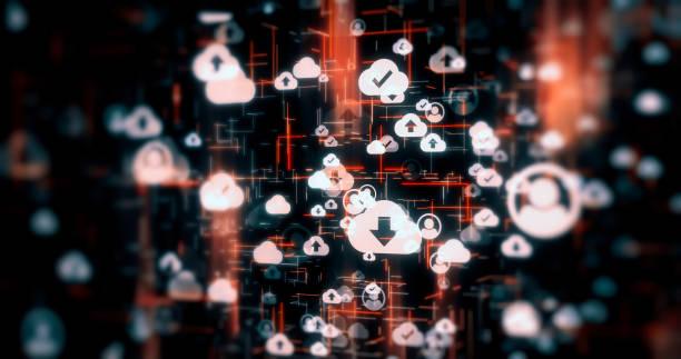 Social Network Connections Icons auf Technologie-Hintergründen – Foto
