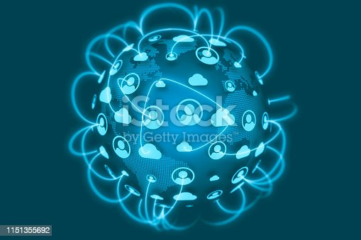 istock Social Network Connections icons on world globe 1151355692