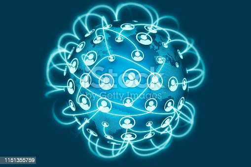 istock Social Network Connections icons on world globe 1151355759