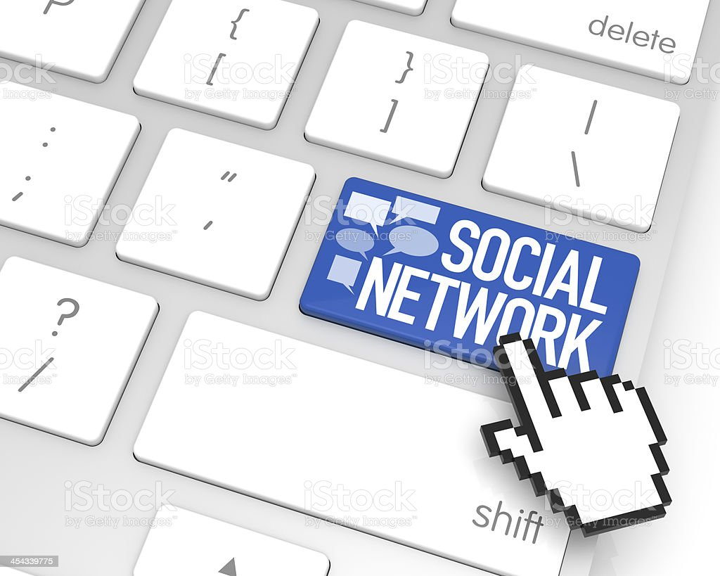 Social Network Enter Key royalty-free stock photo