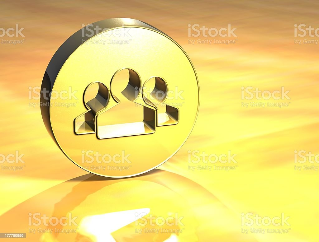 3D Social Network Gold Sign royalty-free stock photo
