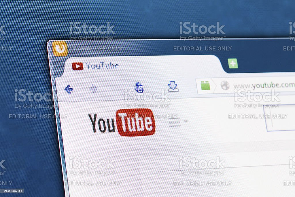 Social network homepage on a monitor screen. BELCHATOW, POLAND - APRIL 11, 2014: Photo of Youtube social network homepage on a monitor screen. Business Stock Photo