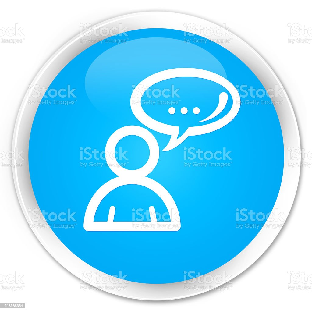 Social network icon cyan blue glossy round button stock photo